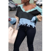 Lovely Casual Batwing Sleeves Grey Blending  Sweat