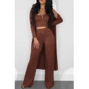 Precioso Conjunto De Pantalones De Dos Piezas De Color Naranja Con Cuello En U (con Abrigo)