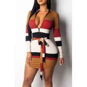 Lovely Casual Striped Orange Blending Mini Dress