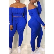 Lovely Casual Dew Shoulder Blue Blending Two-piece Pants Set