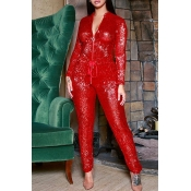 Lovely Sweet Zipper Design Red One-piece Jumpsuit