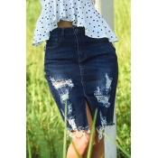 Lovely Trendy Broken Holes Deep Blue Cotton Blends