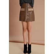 Lovely Trendy Parchwork Khaki PU Mini Skirts