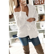 Lovely Trendy Lace-up White Coat(With Belt)