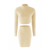 Lovely Casual Skinny Yellowish Rice Two-piece Skirt Set