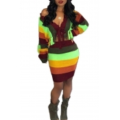 Lovely Casual Striped Multicolor Sweater Two-piece