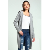 Lovely Casual Hooded Collar Light Grey Cardigan Sw