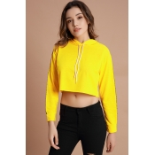 Lovely Sportswear Hooded Collar Yellow Cotton Hood