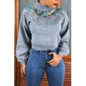 Lovely Casual Patchwork Grey Knitting Hoodies