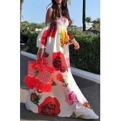 Lovely Bohemian Dew Shoulder White Floor Length Dress
