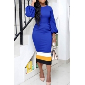 Lovely Trendy Patchwork Blue Twilled Satin Mid Calf Dress