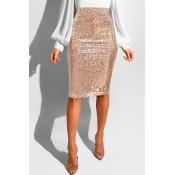 Faldas Hasta La Rodilla Con Lentejuelas Preciosas A La Moda De Encaje Hasta La Rodilla