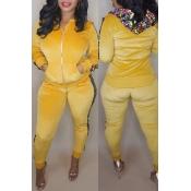 Precioso Conjunto De Pantalones De Dos Piezas De Lentejuelas Amarillas Decorativas Ocasionales