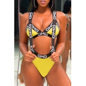 Lovely Chic Patchwork Yellow Two-piece Swimwear
