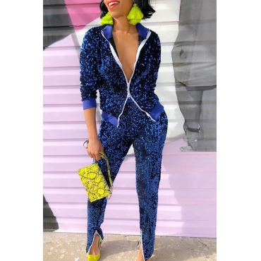 Lovely Casual Sequined Decorative Blue Two-piece Pants Set