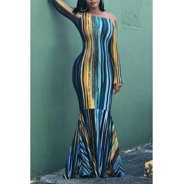 Lovely Trendy Striped Blue Floor Length Trumpet  Dress