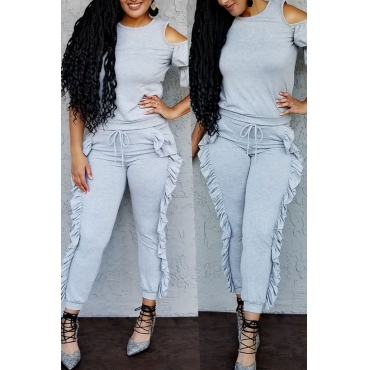 Lovely Chic Patchwork Grey Cotton Two-piece Pants Set