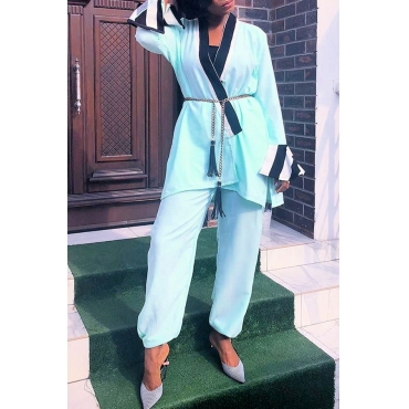 Lovely Casual Patchwork  Cyan Two-piece Pants Set