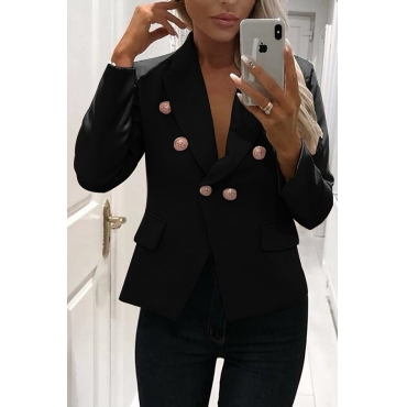 Lovely Work Buttons Decorative Black Cotton Blends Blazer