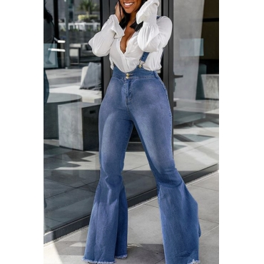 Lovely Casual Flared Baby Blue Denim Jeans