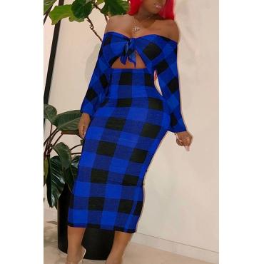 Lovely Sweet Dew Shoulder Blue Blending  Ankle Length  Dress