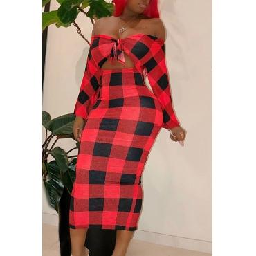 Lovely Sweet Dew Shoulder Red Blending  Ankle Length  Dress
