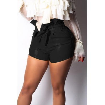Lovely Chic Lace-up Black Shorts