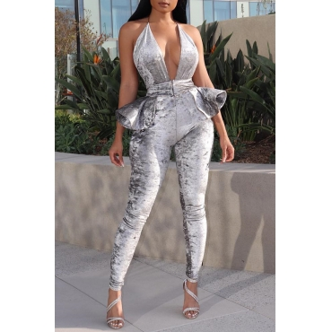 Lovely Trendy Backless Silver Velvet One-piece Jumpsuit