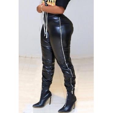 Lovely Trendy  Zipper Design Black PU  Pants