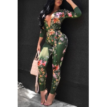 Lovely Sexy Deep V Neck Printed Knitting One-piece Skinny Jumpsuit(Without Belt)