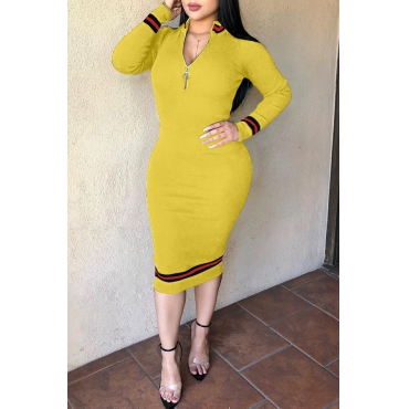 Lovely Casual Patchwork Yellow Twilled Satin Mid Calf Dress