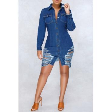 Lovely Casual Broken Holes Blue Denim Mini Dress