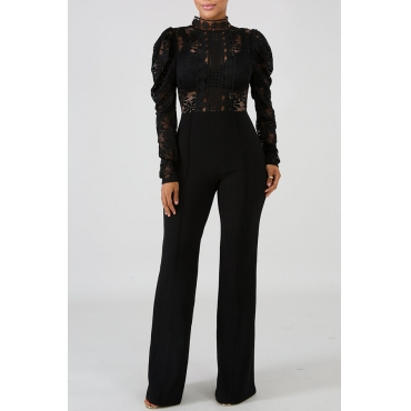Lovely Trendy Hollowed-out Black Blending One-piece Jumpsuit