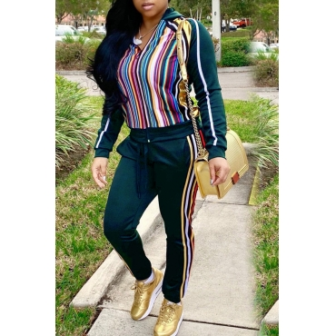 Lovely Casual Striped Blackish Green Blending Two-piece Pants Set