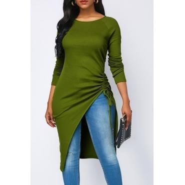 Lindo Verde Assimétrica Grama Verde Twilled Cetim T-shirt