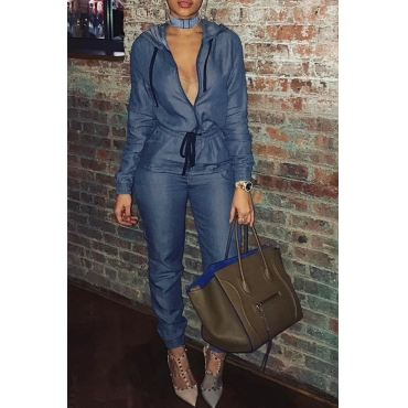 Lovely Casual Zippers Design Blue Denim One-piece Jumpsuit