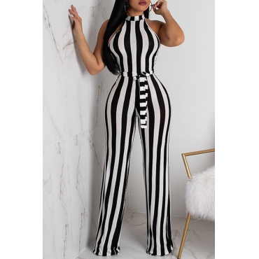 Lovely Casual Striped Black And White Knitting One-piece Jumpsuit