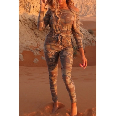 Lovely Casual Camouflage Printed Brown Twilled Satin One-piece Jumpsuit