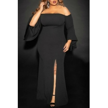 Lovely Trendy Dew Shoulder Black Twilled Satin Floor Length Dress