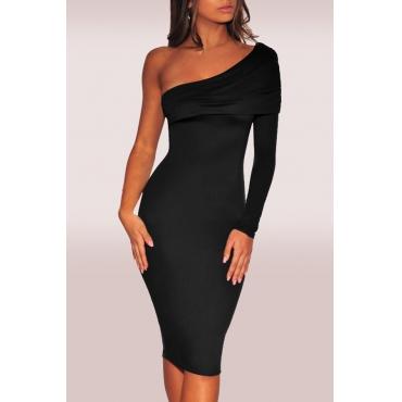 Lovely Trendy Dew Shoulder Black Knee Length  Dress