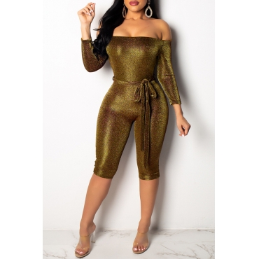 Lovely Trendy Dew Shoulder Gold Knitting One-piece Jumpsuit (With Belt)