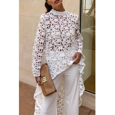 Lovely Trendy Hollowed-out White Lace Shirts