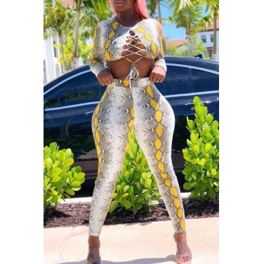 Lovely Trendy Printed Yellow Twilled Satin Two-piece Pants Set