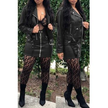 Lovely Chic Zipper Design Black Two-piece Skirt Set