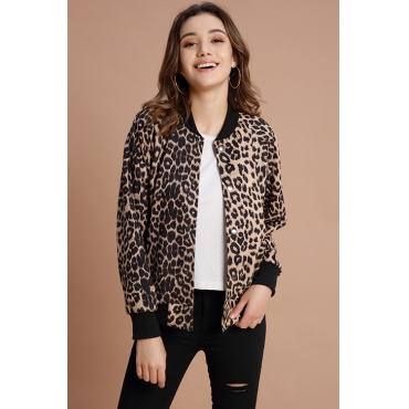 Lovely Chic Leopard Coffee Jacket