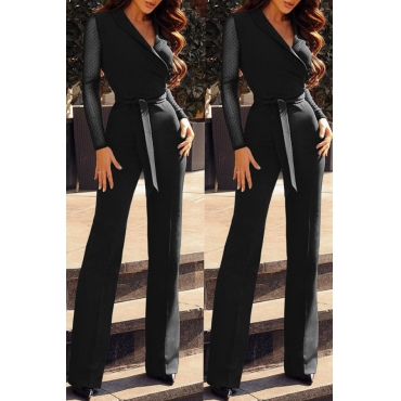 Lovely Casual Patchwork  Black Blending One-piece Jumpsuit