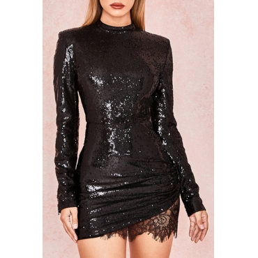 Lovely Trendy Patchwork  Black Sequined Mini Dress