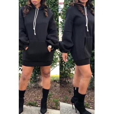Lovely Trendy Hooded Collar Black Mini Dress
