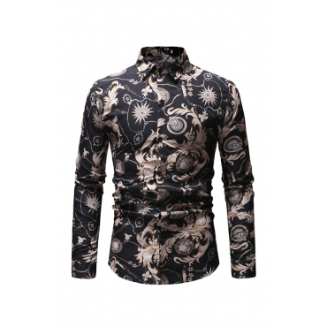 Lovely Casual Printed Black Cotton Shirt