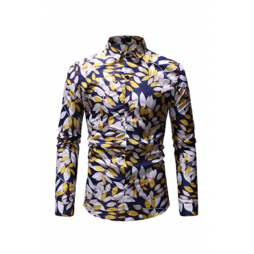 Lovely Casual Printed Gold Cotton Shirt